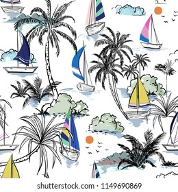 Colorful Summer Beautiful seamless pattern island with boat and windsurf . Landscape with palm trees,beach and ocean vector on hand drawn sketch on white color background.