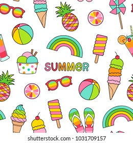 Colorful summer elements seamless pattern background