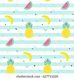Colorful summer seamless pattern with fruits, banana, watermelon and geometric elements in memphis style background, vector
