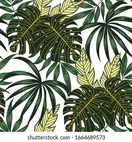 Colorful summer seamless pattern with tropical plants and leaves on white background. Illustration in Hawaiian style. Jungle leaves. Botanical pattern. Vector background for various surface.