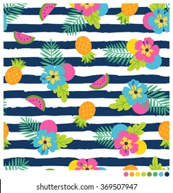 Colorful  Summer seamless vector pattern with hibiscus and fruits on navy blue and white stripes background.