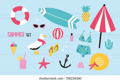 Colorful summer set with hand drawn elements: pineapple, ice cream, seagull, surfboard, ball, swimwear, hat, beach umbrella, sunglasses, lifebuoy, starfish, drink, flip flops, anchor.