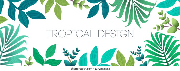 Colorful summer tropical background with exotic palm leaves and flowers. Horizontal banner, cover. Vector floral background.