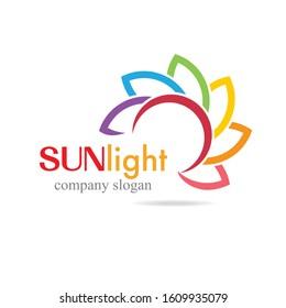 colorful sun light logo icon sun bright vector logo