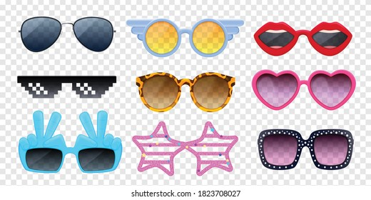 Colorful sunglasses of different shape realistic set isolated on transparent background vector illustration