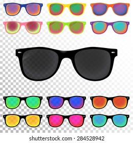 Colorful Sunglasses set. Hipster sunglasses, six with psychedelic colors and six uniform. Vector illustration