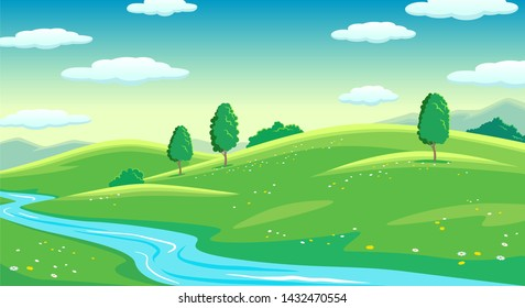 Colorful sunny summer bright fields with river and trees, hills landscape, green grass, morning cloudy sinrise sky, flat style vector illustration
