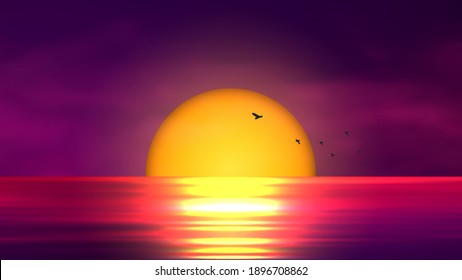 Colorful sunset over ocean. Vector illustration