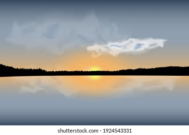 Colorful sunset over the water. Silhouettes of the forest. Vector clouds