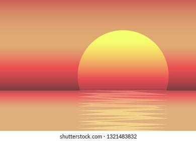 Colorful sunset sea landscape. Vector illustration