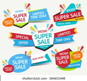 Colorful super sale and discount banner. Vector illustration
