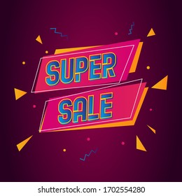Colorful Super sale vector banner poster design