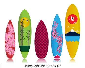 Colorful Surfboard on white background with reflection.Painting Japanese  Style.Vector Illustration.