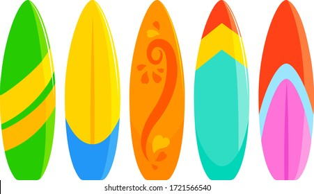 Colorful surfboards collection. Vector illustration