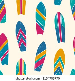 Colorful Surfboards Drawn Seamless Vector Pattern