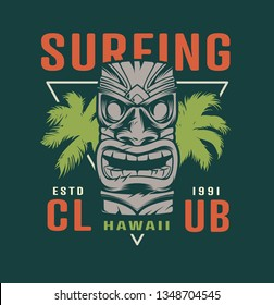 Colorful surfing time label with hawaiian tribal tiki mask in vintage style isolated vector illustration
