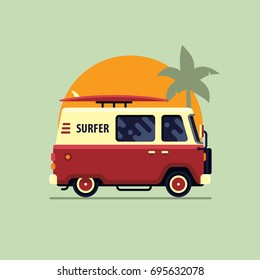 Colorful surfing van flat style vector illustration