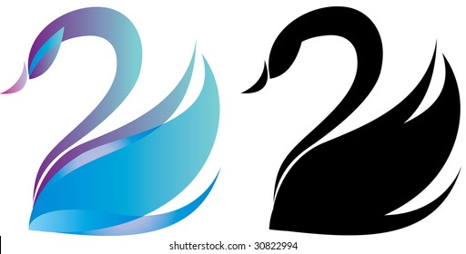 Colorful swan logo and black silhouette
