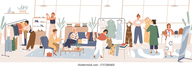 Colorful swap party concept. Women choosing trendy clothing, shoes, accessories at fair. People swapping stuff. Collaborative consumption, clothes exchange. Vector illustration in flat cartoon style.