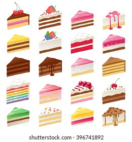 Colorful sweet cakes slices pieces set vector illustration.