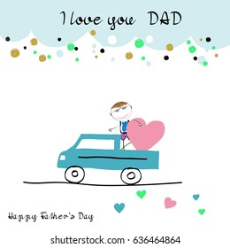 Colorful and sweet card for Father's Day. Children's drawing