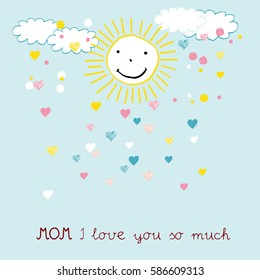 Colorful and sweet card for Mother's Day. Children's drawing