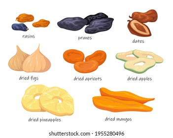 Colorful sweet dry fruit snacks flat pictures for web design. Cartoon dried raisins, prunes, figs, apricots, pineapple isolated vector illustrations. Food and nutrition concept