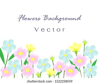 Colorful sweet flowers field. Isolated on white background. Vector Illustration. - Shutterstock ID 1522258559