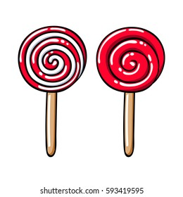 Colorful sweet lollipops icons set - spiral candy vector illustration. Hand drawn doodle sketch.