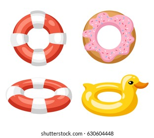 Colorful swim rings icon set isolated on white background. Vector illustration