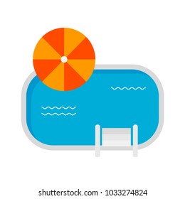 Colorful swimming pool icon isolated on white. Travel icon. Cruise icon. Vacation icon. Vector illustration.