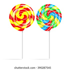 Colorful swirl lollipop set. Lollipop candy on a stick isolated on white background, vector illustration