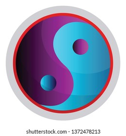 Colorful symbol of Taoism religion vector illustration on a white background
