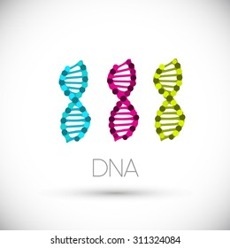 Colorful symbols DNA strands. Vector isolated on white background.