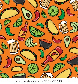 Colorful Taco Time Fiesta seamless pattern. Mexican restaurant food and beverage background design.