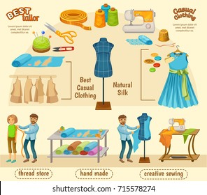 Colorful tailoring infographic concept with taking measurement process and professional equipment tools accessories vector illustration