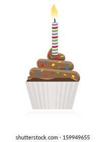colorful tasty chocolate cupcake with lit candle