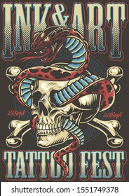 Colorful tattoo festival poster with snake entwined with skull and crossbones in vintage style vector illustration