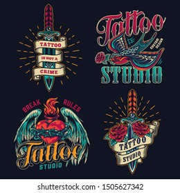 Colorful tattoo studio vintage logos with elegant daggers flying swallow holding rose in beak and fiery heart in barbed wire with angel wings isolated vector illustration