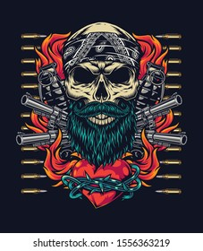 Colorful tattoo vintage template with skull in bandana guns bullets grenades and fiery heart in barbed wire on dark background isolated vector illustration