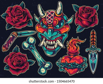 Colorful tattoos composition with roses knives demon head bone fiery heart in barbed wire on dark background isolated vector illustration