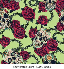 Colorful tattoos vintage seamless pattern with sugar skulls green wavy stem of barbed wire with beautiful roses vector illustration