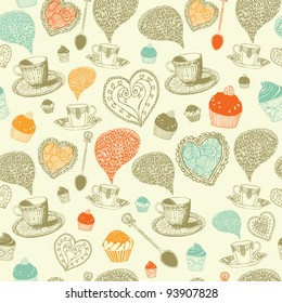 Colorful tea cup and dessert. Kitchen seamless pattern