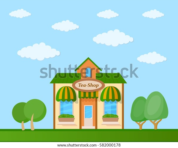 Colorful tea shop front view on nature background, vector illustration