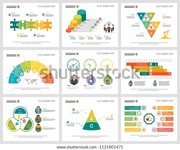 Colorful teamwork or finance concept infographic charts set. Business design elements for presentation slide templates. Can be used for annual report, advertising, flyer layout and banner design.