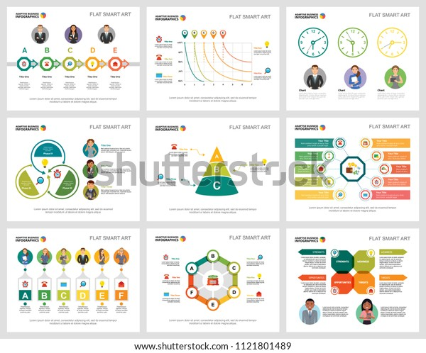 Colorful teamwork or finance concept infographic charts set. Business design elements for presentation slide templates. Can be used for financial report, workflow layout and brochure design.