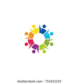 colorful teamwork people connection logo