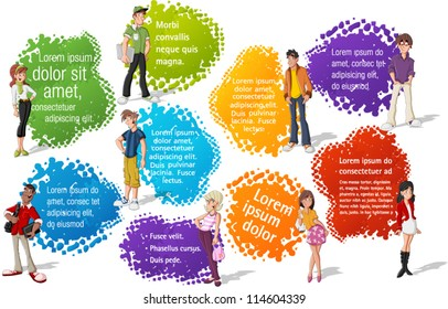 Colorful template for advertising brochure with cool cartoon young people. Teenagers.