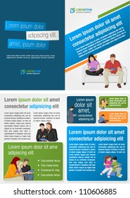Colorful template for advertising brochure with people with tablets