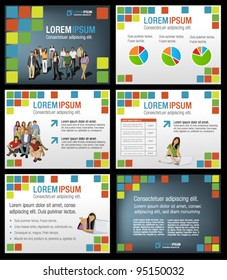 Colorful template for advertising brochure with students